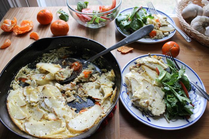 Cast Iron Potato Carrot Frittata
