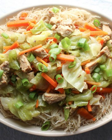 Filipino Pancit Bihon Stir Fried Rice Noodles with Pork and Vegetables