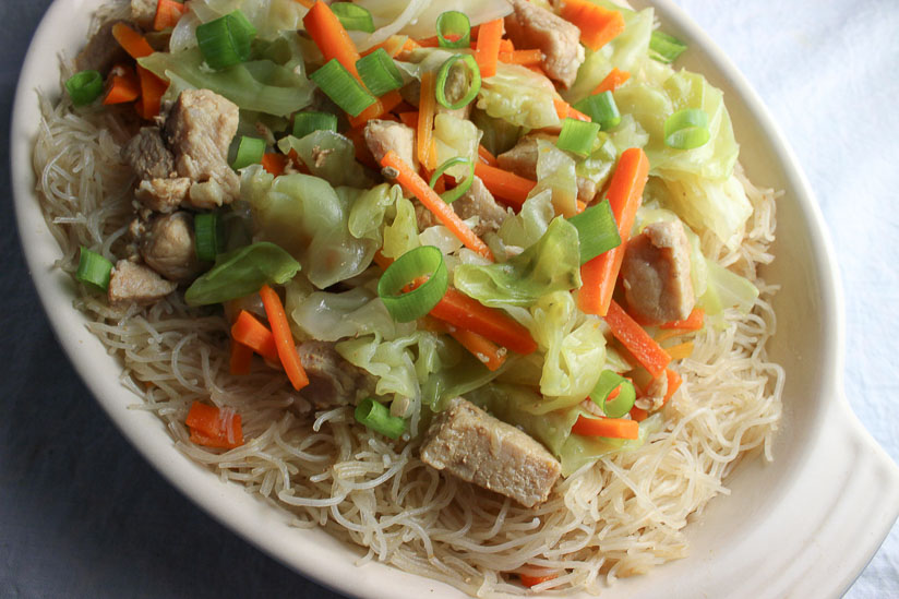 Filipino Pancit Bihon Stir Fried Rice Noodles with Pork and Vegetables