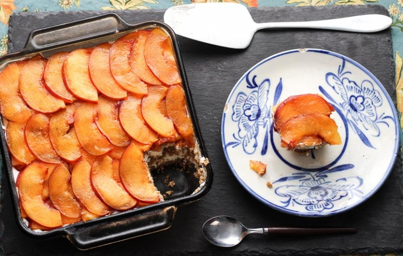 No Bake Peach Coconut Jam Summer Cake