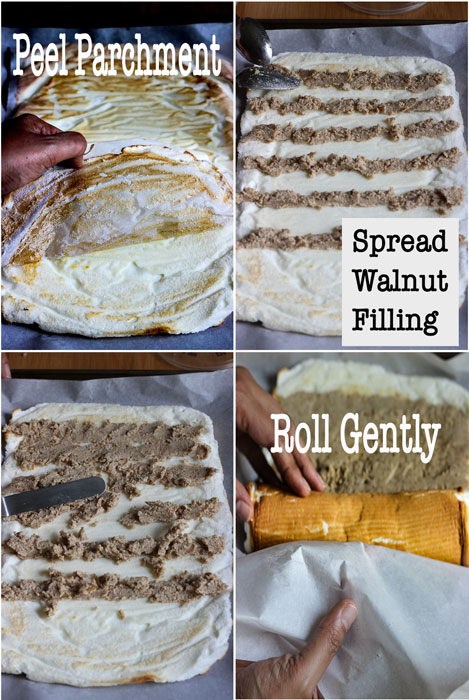 Lemon Walnut Meringue Roulade