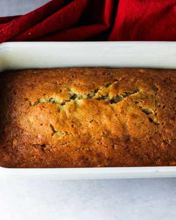 Simple One-Bowl Banana Bread - after baking caramel brown color
